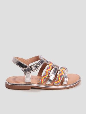 Sandales en cuir avec perles couleur argent fille