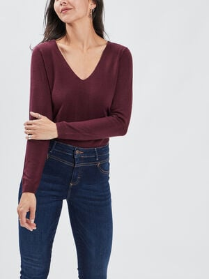 Pull manches longues prune femme