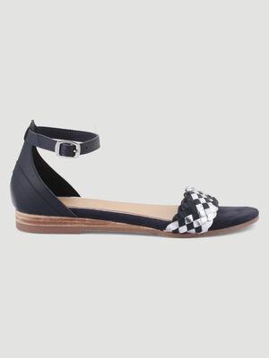 Sandales tressees cuir talon plat bleu femme