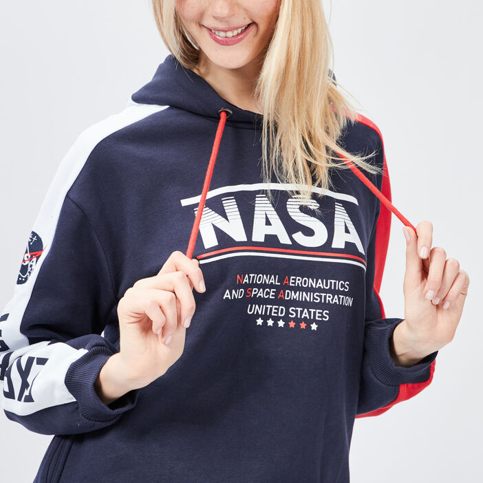 Sweat à capuche NASA femme bleu marine