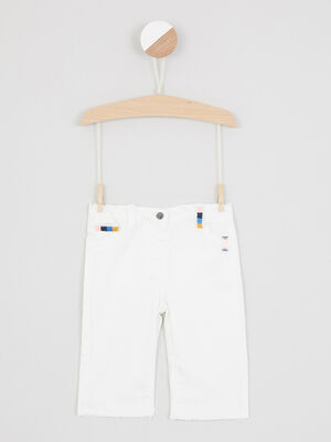 Pantalon uni patchs decoratifs devant ecru fille