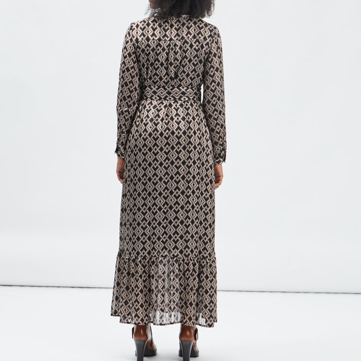 Robe longue droite femme noir