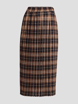 Jupe longue droite plissee noir femme