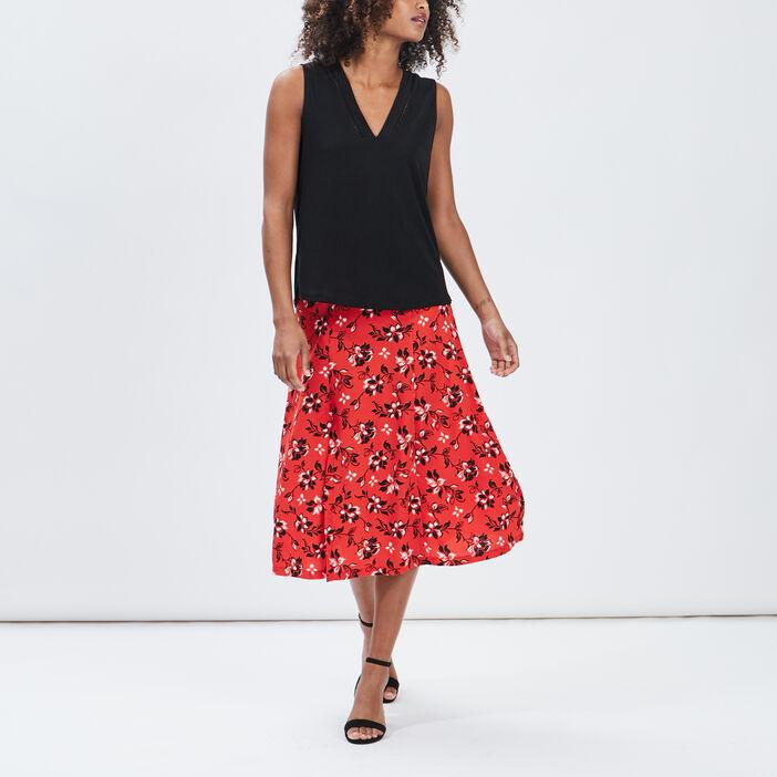 Jupe longue évasée femme rouge