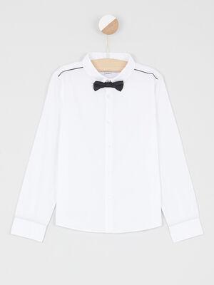 Chemise noeud papillon coton melange blanc garcon