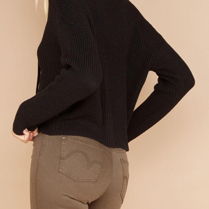 Pull manches longues à lacets femme noir