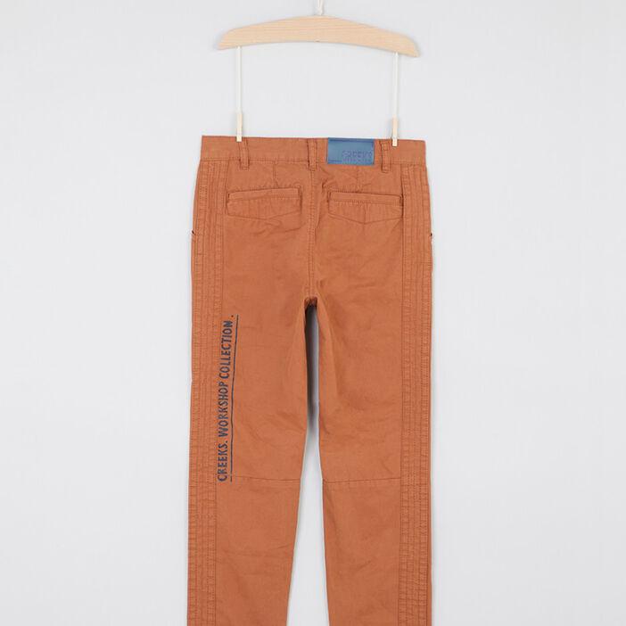 Pantalon chino boutonné en coton garçon marron cognac
