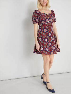 Robe evasee imprimee manches bouffantes rose framboise femme