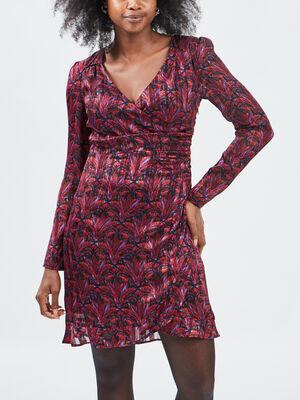Robe droite avec col en V multicolore femme