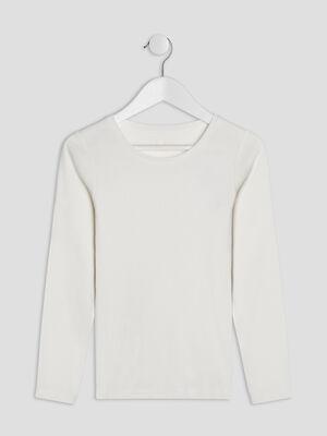 T shirt uni en coton ecru fille