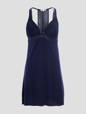 Chemise de nuit a manches courtes bleu marine femme