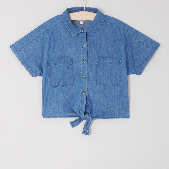 Chemise courte denim base nouée fille denim double stone
