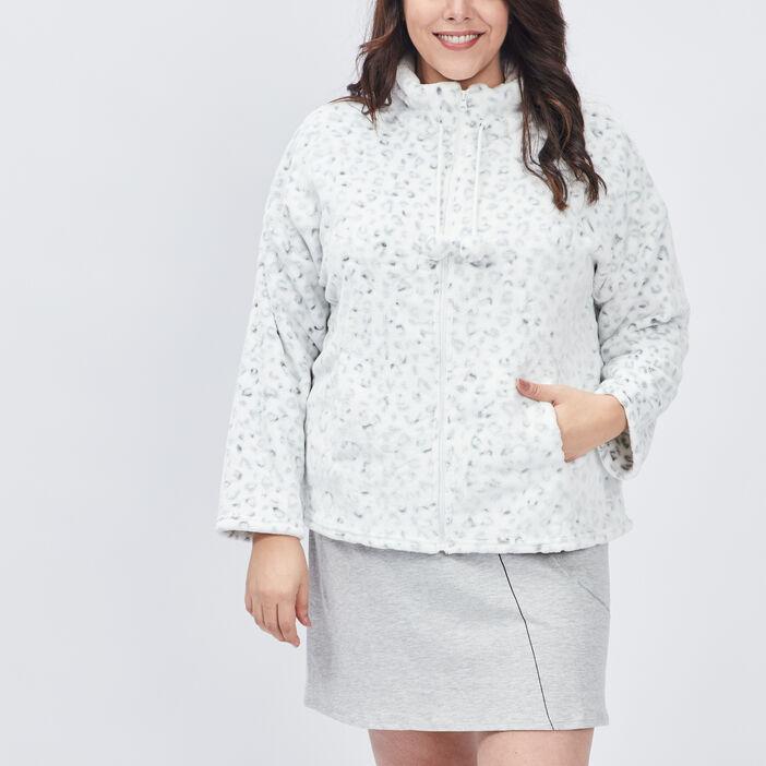 Gilet de pyjama femme grande taille ecru