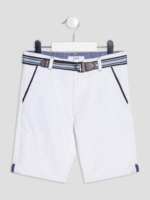 Bermuda straight ceinture blanc garcon