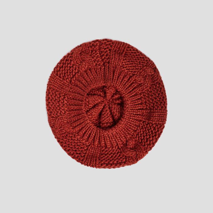 Béret tricoté avec torsades femme orange foncé