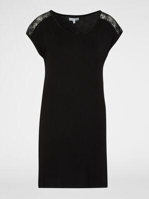 Chemise de nuit avec dentelle noir femme