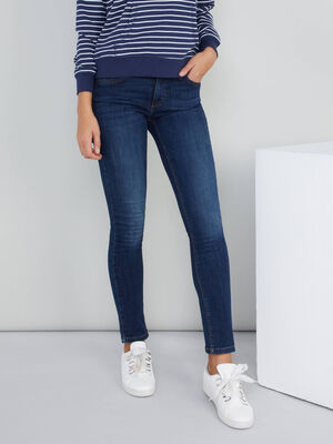 Jean straight poches rivetees denim brut femme