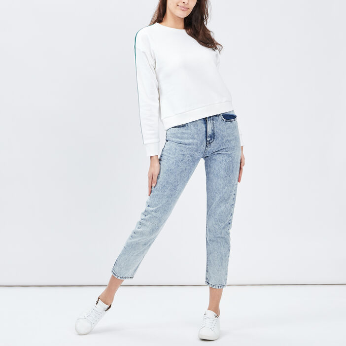 Jeans mom 7/8ème femme denim bleach