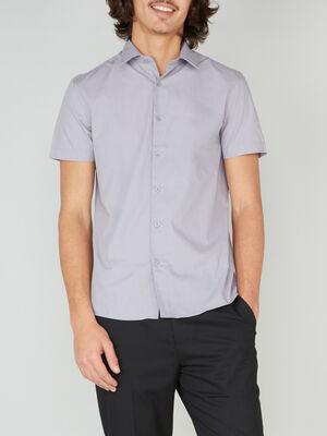 Chemise droite unie manches courtes gris homme