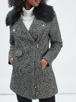 Manteau droit zippe gris fonce femme