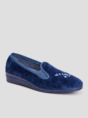 Chaussons ballerines bleu femme