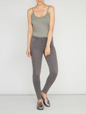 Jean skinny 5 poches uni gris femme