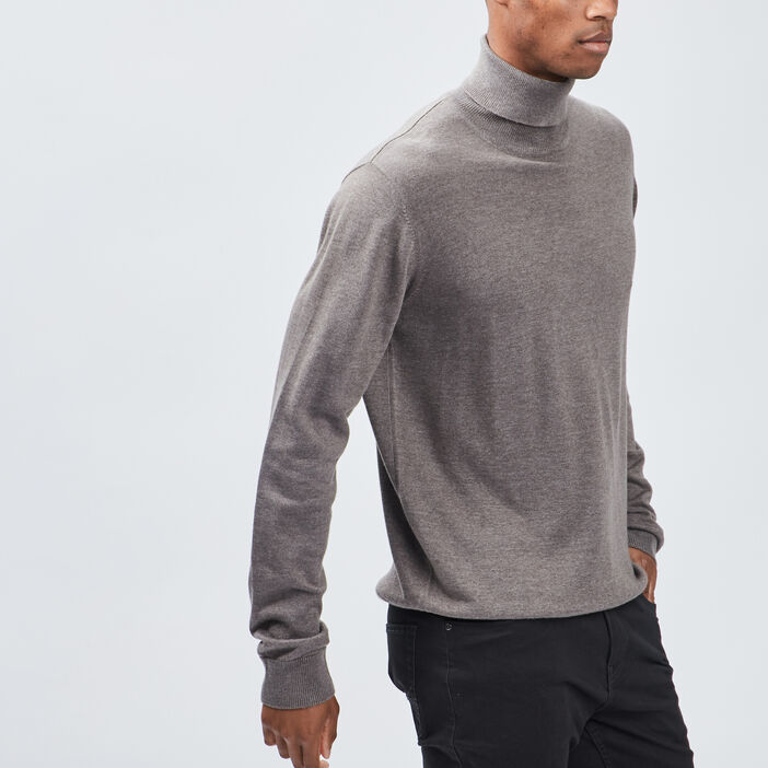 Pull avec col roulé homme taupe