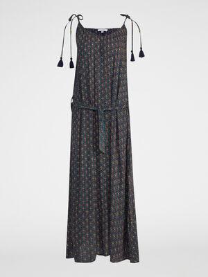 Robe longue imprimee a bretelles bleu marine femme