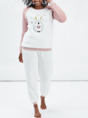 Ensemble pyjama rose clair femme