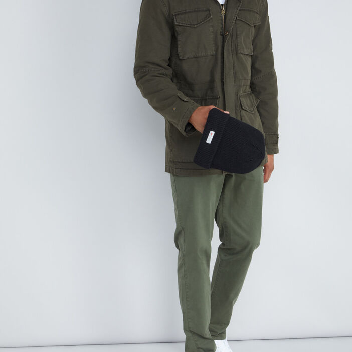Parka à capuche 100% coton homme vert kaki