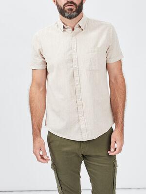 Chemise manches courtes marron clair homme