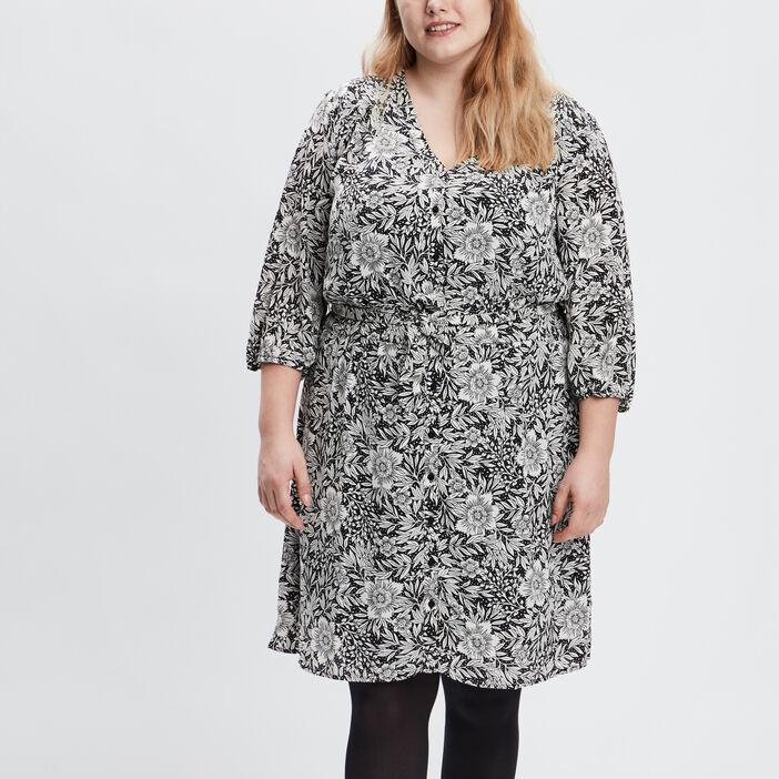 Robe droite ceinturée femme grande taille ecru