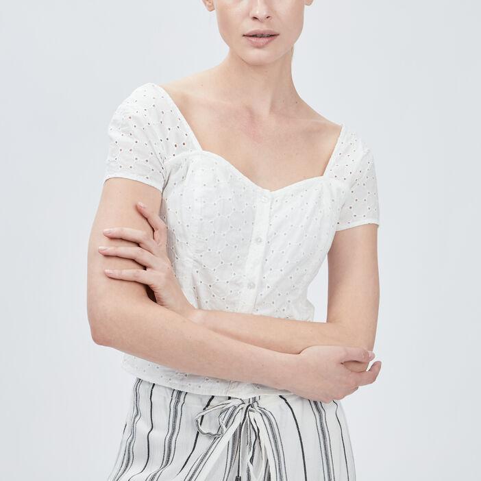 Chemise manches courtes femme ecru