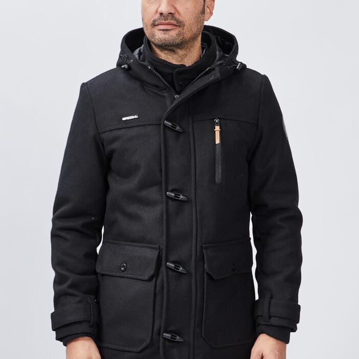 Manteau droit zippé à capuche homme noir