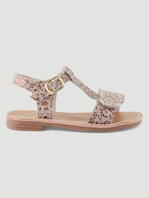Sandales cuir motif mosaique couleur or fille