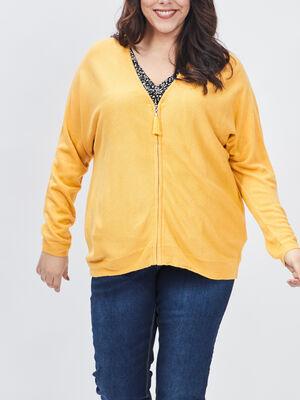 Gilet zippe grande taille jaune moutarde femmegt