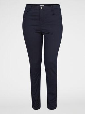 Pantalon slim 5 poches bleu marine femme