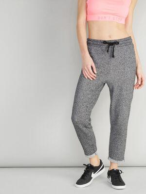Pantalon a revers esprit jogging gris femme
