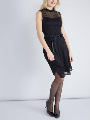 Robe dentelle sans manches ceinturee noir femme