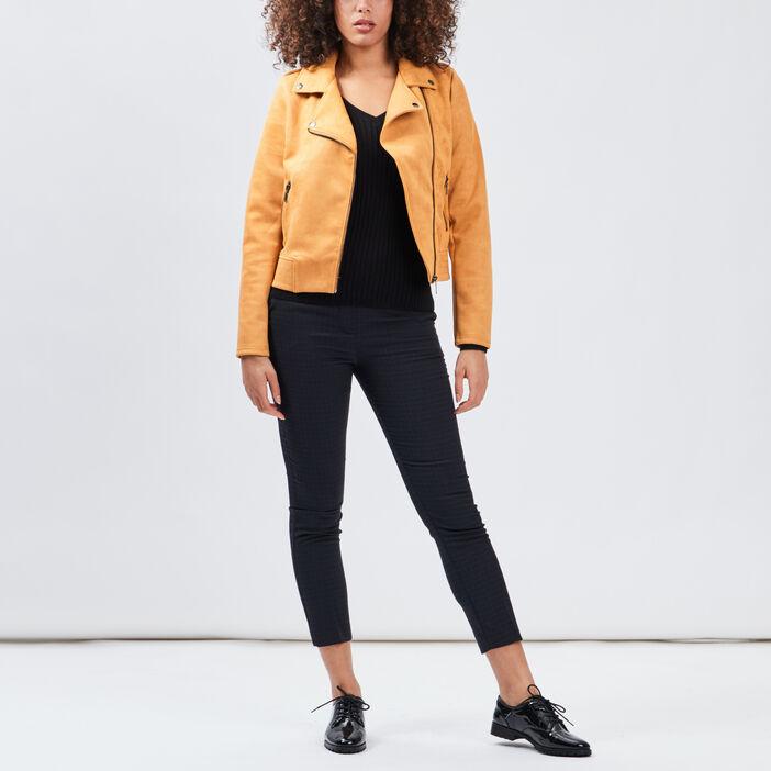 Veste style biker effet suédine femme jaune moutarde