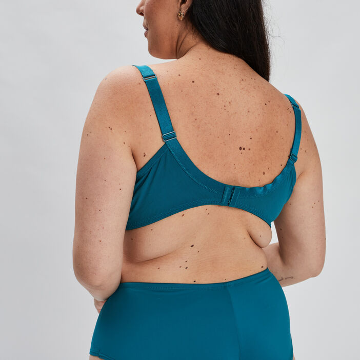 Soutien-gorge emboîtant microfibre femme grande taille bleu turquoise