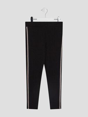 Pantalon legging avec bandes noir fille