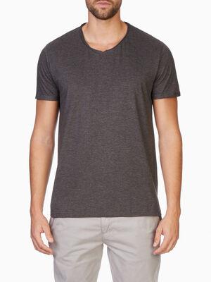 T shirt manches courtes col rond gris fonce homme