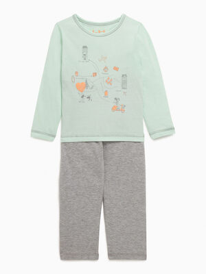 Pyjama long 2 pieces imprime chat gris fille