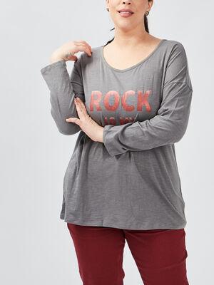 T shirt manches longues gris fonce femmegt