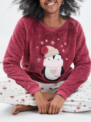 Ensemble pyjama 2 pieces rose framboise femme