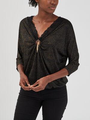 T shirt manches longues multicolore femme
