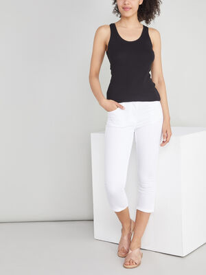 Pantacourt slim en jean blanc femme