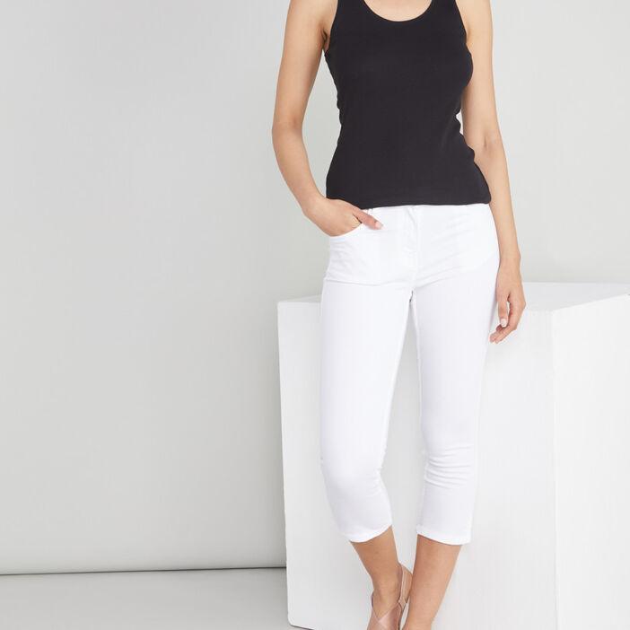 Pantacourt slim en jean femme blanc