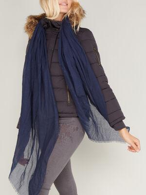 Foulard avec strass bleu marine femme